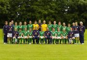 3 July 2005; The Republic of Ireland Senior Women squad, front row, left to right, Alisha Moran, Edel Malone, Michele O'Brien, Denise Thomas, Myles Kelly, Assistant Coach, Ciara Grant, Noel King, Manager, Sonya Hughes, Emma Griffin, Laura Hislop, Louise Henchy, back row, left to right, Mary Moynihan, Chartered Physiotherapist, Rachel Jenkins, Ashling Toolan, Kacey O'Driscoll, Marie Curtin, Yvonne Tracy, Carmel Kissane, Janine Pepper, Gerrard Dunne, Goalkeeping coach, Emma Byrne, Sharon Boyle, Dolores Deasley, Marie Gallagher, Elaine O'Connor, Clare Scanlan, Catherine Cooke, Carol Breen, George O'Regan, Kitman. AUL Complex, Clonshaugh, Dublin. Picture credit; Brian Lawless / SPORTSFILE