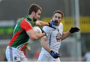 2 February 2014; Jason Gibbons, Mayo, in action against Gary White, Kildare. Allianz Football League, Division 1, Round 1, Kildare v Mayo, St Conleth's Park, Newbridge, Co. Kildare. Picture credit: Piaras Ó Mídheach / SPORTSFILE