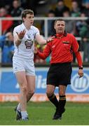 2 February 2014; Seán Hurley, Kildare, reacts after having a free awarded against him by Rory Hickey, referee. Allianz Football League, Division 1, Round 1, Kildare v Mayo, St Conleth's Park, Newbridge, Co. Kildare. Picture credit: Piaras Ó Mídheach / SPORTSFILE