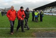 2 February 2014; Mayo manager James Horan, right, trainer Donie Buckley, left, and selector Tom Prendergast leave the field after defeat to Kildare. Allianz Football League, Division 1, Round 1, Kildare v Mayo, St Conleth's Park, Newbridge, Co. Kildare. Picture credit: Piaras Ó Mídheach / SPORTSFILE