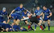 14 February 2014; Jordi Murphy, Leinster, supported by team-mates, from left, Shane Jennings, Mike McCarthy, Leo Cullen, Sean Cronin and Rhys Ruddock, is tackled by Francisco Chapparo, Newport Gwent Dragons. Celtic League 2013/14 Round 14, Leinster v Newport Gwent Dragons, RDS, Ballsbridge, Dublin. Picture credit: Piaras Ó Mídheach / SPORTSFILE