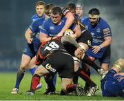 14 February 2014; Jack McGrath, Leinster, is tackled by Francisco Chapparo,18, and Matthew Screech. Newport Gwent Dragons. Celtic League 2013/14 Round 14, Leinster v Newport Gwent Dragons, RDS, Ballsbridge, Dublin. Picture credit: Piaras Ó Mídheach / SPORTSFILE
