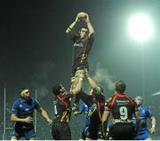 14 February 2014; Roberto Sildoli, Newport Gwent Dragons, wins possession in the lineout. Celtic League 2013/14 Round 14, Leinster v Newport Gwent Dragons, RDS, Ballsbridge, Dublin. Picture credit: Piaras Ó Mídheach / SPORTSFILE