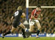 9 July 2005; Shane Horgan, British and Irish Lions, in action against Justin Marshall, New Zealand. British and Irish Lions Tour to New Zealand 2005, 3rd Test, New Zealand v British and Irish Lions, Eden Park, Auckland, New Zealand. Picture credit; Brendan Moran / SPORTSFILE