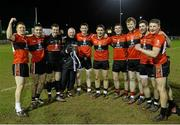 22 February 2014; The University College Cork manager Billy Morgan with, from left, David Culhane, Adrian Spillane, Brian Kelly, Sean Keane, Michael O'Connor, Fergal McNamara, Gary O'Sullivan, Paul Geaney and Conor Cox. Irish Daily Mail Sigerson Cup, Final, University of Ulster Jordanstown v University College Cork, The Dub, Queen's University, Belfast, Co. Antrim. Picture credit: Oliver McVeigh / SPORTSFILE