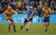 23 February 2014; Conal Keaney, Dublin, in action against Cian Dillon, left, and Patrick Donnellan, Clare. Allianz Hurling League, Division 1A, Round 2, Dublin v Clare, Parnell Park, Dublin. Picture credit: Stephen McCarthy / SPORTSFILE