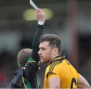 23 February 2014; Ryan McCluskey, Ulster, receives a black card. M Donnelly Football Interprovincial Championship Final, Connacht v Munster, Tuam Stadium, Tuam, Co. Galway. Picture credit: Ray Ryan / SPORTSFILE