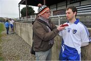 23 February 2014; Keith Higgins, Connacht,  is interviewed by Michael Gallagher after the game. M Donnelly Football Interprovincial Championship Final, Connacht v Munster, Tuam Stadium, Tuam, Co. Galway. Picture credit: Ray Ryan / SPORTSFILE