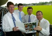 14 July 2005; Gaelic Telecom, which is an official partner to the GAA, today launched its services in conjunction with the Dublin County Board. It is now offering its services directly to all GAA members and supporters which will help raise funds for their club and county. At the launch are, l to r, John Bailey, County Board Chairman, Ciaran Doyle, Gaelic Telecom, John Costello, Secretary, Dublin County Board and Anton O'Toole, Gaelic Telecom. Parnell Park, Dublin. Picture credit; Matt Browne / SPORTSFILE