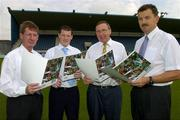 14 July 2005; Gaelic Telecom, which is an official partner to the GAA, today launched its services in conjunction with the Dublin County Board. It is now offering its services directly to all GAA members and supporters which will help raise funds for their club and county. At the launch are, l to r, John Bailey, County Board Chairman, Ciaran Doyle and Anton O'Toole, both Gaelic Telecom and John Costello, Secretary, Dublin County Board. Parnell Park, Dublin. Picture credit; Matt Browne / SPORTSFILE