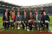 25 February 2014; AIB, sponsor of both the GAA and Camogie Club Championships, today honoured eleven club players from camogie, hurling and football at #TheToughest provincial club player awards. The recipients were voted for by national and regional GAA media and the criteria focused on their overall performance in their club games throughout 2013. For exclusive content and to see why the AIB Club Championships is the 'Toughest of them all' follow us @AIB_GAA and #theToughest. Pictured are, back row, from left to right, Eddie McCloskey, Loughgiel Shamrocks, Co. Kilkenny, Meabh McGoldrick, Eoghan Rua, Co. Derry, Richard Coady, Mount Leinster Rangers, Co. Carlow, President of the Camogie Association Aileen Lawlor, Tom Kinsella, Group Marketing Director, AIB, Aoife Lynskey, Ardrahan, Co. Galway, and Richie Feeney, Castlebar Mitchel's, Co. Mayo. Front row, from left to right, Johnny Buckley, Dr. Crokes, Co. Kerry, Marie O'Neill, Milford, Co. Cork, Tomás Quinn, St. Vincent's, Co. Dublin, Uachtarán Chumann Lúthchleas Gael Liam Ó Néill, Julie Anne Malone, Mullinavat, Co. Kilkenny, David Breen, Na Piarsaigh, Co. Limerick, and Gareth McKinless, Ballinderry Shamrocks, Co. Derry. Croke Park, Dublin. Picture credit: David Maher / SPORTSFILE