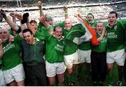 19 March 2000; Ireland players, from left, Keith Wood, Mike Mullins, Simon Easterby, Paddy Johns, John Hayes, Demis Hickie, Frank Sheahan and Anthony Foley celebrate after victory over France. Six Nations Rugby International, France v Ireland, Stade de France, Paris, France. Picture credit: Ray Lohan / SPORTSFILE