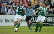 22 July 2005; Wes Houlihan, Shelbourne, in action against Brian McGovern, left, and Colm James, Bray Wanderers. eircom League, Premier Division, Bray Wanderers v Shelbourne, Carlisle Grounds, Bray, Co. Wicklow. Picture credit; Matt Browne / SPORTSFILE