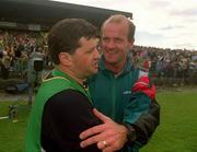 24 July 1994; Leitrim manager John O'Mahony shakes hands with Mayo manager Jack O'Shea after the game. Bank of Ireland Connacht Football Final, Leitrim v Mayo, Dr. Hyde Park, Roscommon. Picture credit; David Maher / SPORTSFILE