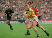 24 July 1994; Declan D'Arcy, Leitrim, is tackled by Pat Fallon, Mayo. Bank of Ireland Connacht Football Final, Leitrim v Mayo, Dr. Hyde Park, Roscommon. Picture credit; David Maher / SPORTSFILE