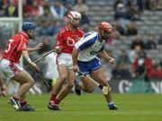 24 July 2005; Seamus Prendergast, Waterford, in action against Kieran Murphy, left, and Ronan Curran, Cork. Guinness All-Ireland Senior Hurling Championship Quarter-Final, Cork v Waterford, Croke Park, Dublin. Picture credit; Ray McManus / SPORTSFILE