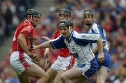 24 July 2005; Fergal Hartley, Waterford, in action against Cork's Brian Corcoran, left, and Ben O'Connor. Guinness All-Ireland Senior Hurling Championship Quarter-Final, Cork v Waterford, Croke Park, Dublin. Picture credit; Ray McManus / SPORTSFILE