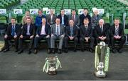 28 February 2014; Republic of Ireland manager Martin O'Neill with SSE Airtricity League managers and asistant managers, back row left to right, John Gill, assistant manager Shamrock Rovers, Ollie Horgan, Finn Harps manager, Owen Heary, Bohemian FC manager, Tommy Dunne, Galway FC manager, Robbie Horgan, Drogheda United manager, Colin Hawkins, Shamrock Rovers first division manager and Shane Keegan, Wexford Youths FC manager, front row left to right, Tommy Griffin, Waterford United manager, Ian Baraclough, Sligo Rovers manager, Roddy Collins, Derry City manager, Alan Mathews, Bray Wanderers manager, Liam Buckley, St.Patrick's Athletic manager, Mick Cooke, Athlone Town manager and Stephen Kenny, Dundalk FC manager, in attendance at the 2014 SSE Airtricity League Launch. Aviva Stadium, Lansdowne Road, Dublin. Picture credit: David Maher / SPORTSFILE