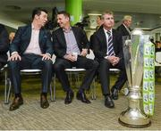 28 February 2014; SSE Airtricity League Premier division managers from left, Roddy Collins, Derry City, Ian Baraclough, Sligo Rovers and Stephen Kenny, Dundalk FC, in attendance at the 2014 SSE Airtricity League Launch. Aviva Stadium, Lansdowne Road, Dublin. Picture credit: David Maher / SPORTSFILE