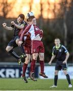 28 February 2014; Michael Casey, NUI Maynooth, in action against Shane O'Rourke, centre, and Tommy Bradshaw, NUI Galway, Eircom Centenary Collingwood Cup Final, NUI Maynooth v NUI Galway, UCD Bowl, Belfield, Dublin. Picture credit: Barry Cregg / SPORTSFILE
