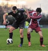 28 February 2014; Niall Lanigan, NUI Maynooth, in action against Stephen Rodden, NUI Galway, Eircom Centenary Collingwood Cup Final, NUI Maynooth v NUI Galway, UCD Bowl, Belfield, Dublin. Picture credit: Barry Cregg / SPORTSFILE