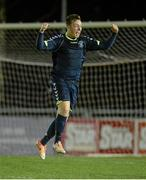 28 February 2014; Daniel Campbell, NUI Maynooth, celebrates victory after the final whistle. Eircom Centenary Collingwood Cup Final, NUI Maynooth v NUI Galway, UCD Bowl, Belfield, Dublin. Picture credit: Barry Cregg / SPORTSFILE