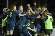 28 February 2014; NUI Maynooth players celebrate victory after the final whistle. Eircom Centenary Collingwood Cup Final, NUI Maynooth v NUI Galway, UCD Bowl, Belfield, Dublin. Picture credit: Barry Cregg / SPORTSFILE