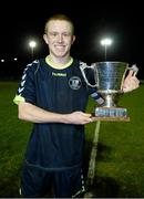 28 February 2014; NUI Maynooth captain Sean Hoare with the Collingwood cup after the game. Eircom Centenary Collingwood Cup Final, NUI Maynooth v NUI Galway, UCD Bowl, Belfield, Dublin. Picture credit: Barry Cregg / SPORTSFILE