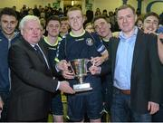 28 February 2014; NUI Maynooth captain Sean Hoare recieves the Collingwood cup from Terry McAuley, Chairman, IUFU, left, and Paul Callaghan, Eircom, after the game. Eircom Centenary Collingwood Cup Final, NUI Maynooth v NUI Galway, UCD Bowl, Belfield, Dublin. Picture credit: Barry Cregg / SPORTSFILE