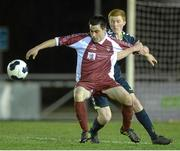 28 February 2014; Mikey Creane, NUI Galway, in action against Stephen Dunne, NUI Maynooth. Eircom Centenary Collingwood Cup Final, NUI Maynooth v NUI Galway, UCD Bowl, Belfield, Dublin. Picture credit: Barry Cregg / SPORTSFILE
