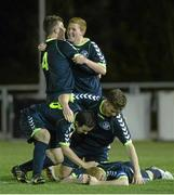 28 February 2014; NUI Maynooth players celebrate victory after the match. Eircom Centenary Collingwood Cup Final, UCD Bowl, Belfield, Dublin. Picture credit: Barry Cregg / SPORTSFILE