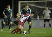 28 February 2014; Mikey Creane, NUI Galway, in action against Stephen Dunne, NUI Maynooth. Eircom Centenary Collingwood Cup Final, UCD Bowl, Belfield, Dublin. Picture credit: Barry Cregg / SPORTSFILE