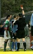 15 August 2005; Referee Damien Hancock shows the red card to Richie Baker, Shelbourne, during the second half. eircom League, Premier Division, Cork City v Shelbourne, Turners Cross, Cork. Picture credit; David Maher / SPORTSFILE