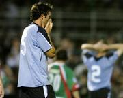 15 August 2005; A dejected Jamie Harris, Shelbourne, at the end of the game after defeat to Cork City. eircom League, Premier Division, Cork City v Shelbourne, Turners Cross, Cork. Picture credit; David Maher / SPORTSFILE