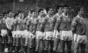 16 November 1988; The Republic of Ireland, from left to right, Kevin Moran, Packie Bonner, Ray Houghton, John Alridge, Steve Staunton, John Sheridan, Tony Galvin, Mick McCarthy, Tony Cascarino, David O'Leary and Chris Morris stand for the National Anthem, World Cup Qualifier, Spain v Ireland, Benito Villa Marin Stadium, Seville, Spain. Picture credit; Ray McManus / SPORTSFILE