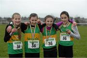 2 March 2014; The Donegal team that won the Girls under 12 4x500m Relay Championships from left Andrea Browne, Aimee McMenamin, Megan Ryan and Daniella Jansen at the Woodie's DIY Inter Club & Juvenile Relay Cross Country Championships of Ireland. Dundalk Institute of Technology, Dundalk, Co. Louth Picture credit: Matt Browne / SPORTSFILE
