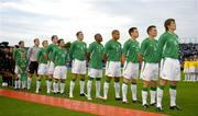 17 August 2005; The Republic of Ireland team from left to right are Kenny Cunningham, Shay Given, Damien Duff, Richard Dunne, Andy Reid, John O'Shea, Clinton Morrison, Stephen Reid, Steve Finnan, Matt Holland and Kevin Kilbane stand for the national anthem. International Friendly, Republic of Ireland v Italy, Lansdowne Road, Dublin. Picture credit; David Maher / SPORTSFILE