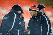 7 February 2014; Armagh management, left to right, Paul Grimley, Peter McDonnell, and Kieran McGeeney. Allianz Football League, Division 2, Round 2, Armagh v Down, Athletic Grounds, Armagh. Picture credit: Oliver McVeigh / SPORTSFILE