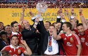 6 July 2013; Brian O'Driscoll and Paul O'Connell, British & Irish Lions, lift the Tom Richards Cup following victory over Australia. British & Irish Lions Tour 2013, 3rd Test, Australia v British & Irish Lions. ANZ Stadium, Sydney Olympic Park, Sydney, Australia. Picture credit: Stephen McCarthy / SPORTSFILE