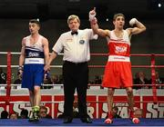 7 March 2014; Michael Conlan, right, St John Bosco Club, is declared the winner over Tyrone McCullough, Holy Family Golden Gloves Boxing Club, after their 56Kg bout. National Senior Boxing Championship Finals, National Stadium, Dublin. Picture credit: Barry Cregg / SPORTSFILE