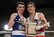 7 March 2014; Michael Conlan, right, St John Bosco Club, and Tyrone McCullough, Holy Family Golden Gloves Boxing Club, after their 56Kg bout. National Senior Boxing Championship Finals, National Stadium, Dublin. Picture credit: Barry Cregg / SPORTSFILE