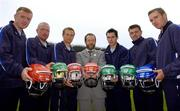 23 August 2005; Azzurri today promoted their hurling helmet. The Azzurri CE marked helmet design was developed with the assistance of county players and the GPA. At the promotion are President of the GAA Sean Kelly with county hurlers, from left, Brian Lohan, Clare, Brian McFall, Antrim, Diarmuid Fitzgerald, Tipperary, Barry Tehan, Offaly, Paul Flynn, Waterford, and Eddie Brennan, Kilkenny. Croke Park, Dublin. Picture credit; Brian Lawless / SPORTSFILE