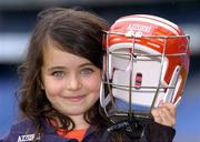 23 August 2005; Azzurri today promoted their hurling helmet. The Azzurri CE marked helmet design was developed with the assistance of county players and the GPA. At the promotion is Sarah White, age 7, from Offaly. Croke Park, Dublin. Picture credit; Brian Lawless / SPORTSFILE