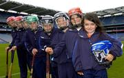 23 August 2005; Azzurri today promoted their hurling helmet. The Azzurri CE marked helmet design was developed with the assistance of county players and the GPA. At the promotion are young hurlers, from right to left, Sarah White, age 7, from Offaly, Emily White, age 8, from Offaly, James Kavanagh, age 6, from Offaly, Sean Brennan, age 9, from Dublin, Sadhbh Kavanagh, age 8, from Offaly, Ryan Earley, age 9, from Dublin,  John Kavanagh, age 11, from Offaly, and Clara Kavanagh, age 13, from Offaly. Croke Park, Dublin. Picture credit; Brian Lawless / SPORTSFILE