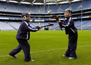 23 August 2005; Azzurri today promoted their hurling helmet. The Azzurri CE marked helmet design was developed with the assistance of county players and the GPA. At the promotion are young hurlers Sean Brennan, age 9, from Dublin, and Ryan Earley, age 9, from Dublin. Croke Park, Dublin. Picture credit; Brian Lawless / SPORTSFILE