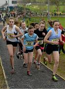 8 March 2014; Caoimhe Harrington, Colaiste Phobail Bheanntrai, right, on her way to winning the Junior Girls 2000m race from eventual second place Jodie McCann, Rathdown School Dublin, no.86,  and eventual third place Nicola Duffy, St Peter's Dunboyne, no.88, during the Aviva All-Ireland Schools Cross Country Championships. Cork IT, Bishopstown, Cork. Picture credit: Diarmuid Greene / SPORTSFILE