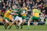 9 March 2014; Dalton McDonagh, Meath, in action against Mark McHugh and Neil Gallagher, Donegal. Allianz Football League Division 2 Round 4, Donegal v Meath, MacCumhaill Park, Ballybofey, Co. Donegal. Picture credit: Oliver McVeigh / SPORTSFILE