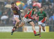 9 March 2014; Alan Freeman, Mayo, in action against Aidan O'Shea, Westmeath. Allianz Football League Division 1 Round 4, Westmeath v Mayo, Cusack Park, Mullingar, Co. Westmeath. Picture credit: Paul Mohan / SPORTSFILE