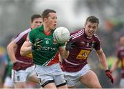 9 March 2014; Donal Vaughan, Mayo, in action against Ger Egan, Westmeath. Allianz Football League Division 1 Round 4, Westmeath v Mayo, Cusack Park, Mullingar, Co. Westmeath. Picture credit: Paul Mohan / SPORTSFILE