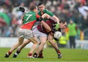 9 March 2014; Dessie Dolan, Westmeath, in action against Colm Boyle, left, and Brendan Harrison, Mayo. Allianz Football League Division 1 Round 4, Westmeath v Mayo, Cusack Park, Mullingar, Co. Westmeath. Picture credit: Paul Mohan / SPORTSFILE
